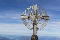Austria, Germany, Bavaria, Zugspitze, summit cross, writing Zugspitzbahn - FOF09857