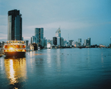 Vietnam, Ho Chi Minh City, Skyline at blue hour - MADF01399