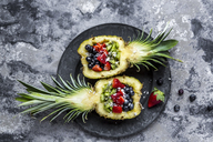 Sliced ananas with fruits, kiwi, strawberry and blueberry - SARF03589