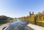 Germany, Bavaria, Munich, river Isar with Fruehlingsanlagen, church St. Maximilian and cogeneration plant in background - FOF09862