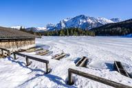 Germany, Bavaria, Upper Bavaria, Garmisch-Partenkirchen, Lautersee, mooring area in winter - STSF01474