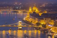 Hungary, Budapest, Buda and Pest, Danube river, Chain bridge, Elisabeth Bridge and Parliament building, blue hour - FOF09911