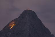 Austria, Lermoos, Ehrwalder Becken, Ehrwalder Sonnenspitze midsummer fire - FOF09925