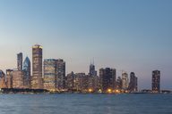 USA, Illinois, Chicago, Lake Michigan, cityscape at blue hour - FOF09945
