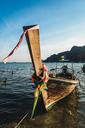 Thailand, Phi Phi Islands, Ko Phi Phi, moored long-tail boat - KKAF00874