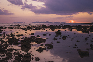 Thailand, Phi Phi Islands, Ko Phi Phi, purple sunset on the beach - KKAF00904