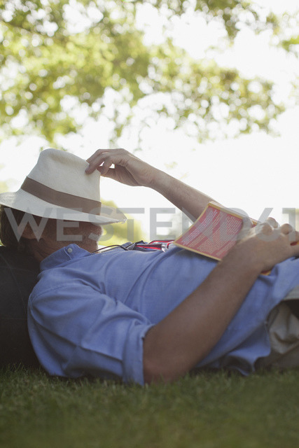 Man napping in grass with book and hat covering face - CAIF00124
