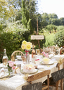 Table set for outdoor wedding reception - CAIF00752