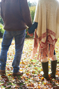 Couple holding hands in autumn leaves - CAIF00917