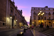 Italy, Sicily, Palermo, Piazza Pretoria and Via Mequeda at evening twilight - LBF01825