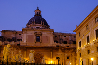 Italy, Sicily, Palermo, Fontana Pretoria and Chiesa Santa Caterina in the evening - LBF01828