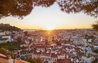 Portugal, Lisbon, View from Miradouro da Igreja da Graca, cityscape at sunset - MRF01848