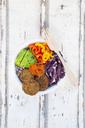 Quinoa-Buddha-Bowl with paprika, avocado, red cabbage, quinoa, quinoa patty, ajvar and black sesame - LVF06745
