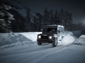 Austria, Tyrol, Stubai Valley, off-road vehicle in winter at night - CVF00180