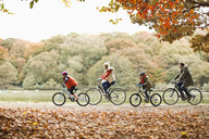 Family riding bicycles together in park - CAIF02351