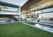 Swimming pool and patio of modern house - CAIF02740