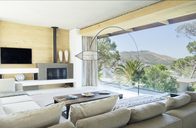 Sofas and table in modern living room - CAIF02749