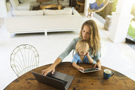 Boy sitting on his mother's lap and looking at a tablet while his mother is working on a laptop - SBOF01457
