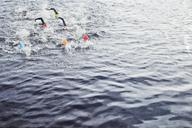 Triathletes splashing in water - CAIF03863