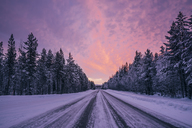Remote winter road through snow covered forest trees against dramatic purple and pink sky, Lapland, Finland - CAIF04152