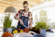 Pregnant woman in kitchen at home cutting cucumber - BMOF00008