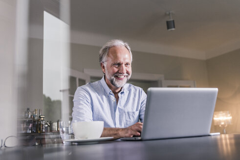 Portrait of happy mature man sitting at table using laptop at home - UUF12922