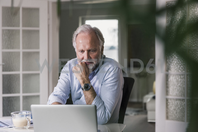 Portrait of mature man using laptop at home - UUF12937 - Uwe Umstätter/Westend61