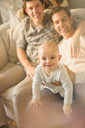 Portrait cute baby son with male gay parents - CAIF04339
