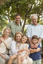 Portrait of smiling multi-generation family - CAIF04537