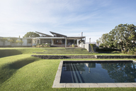 Modern swimming pool, yard and house - HOXF00253