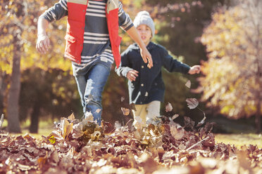 Boys running in autumn leaves - HOXF00559