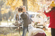 Boy throwing autumn leaves at girl in park - HOXF00571