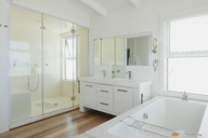 White modern bathroom home showcase interior - HOXF00967