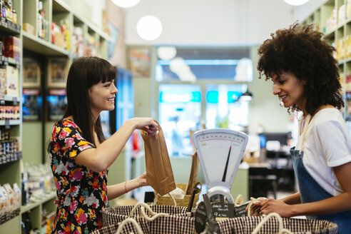 Smiling customer and shop assistant at counter of a store - EBSF02266