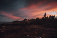Canada, British Columbia, Skeena-Queen Charlotte A, Mount Hays, Prince Rupert, Kaien Island, van at afterglow - GUSF00326