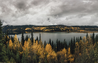 Canada, British Columbia, Kitimat-Stikine A, view from Highway 37, lake in autumn - GUSF00383