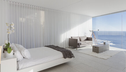 Modern, luxury home showcase bedroom with ocean view - HOXF01041