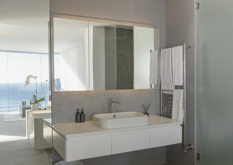 Sink in modern, luxury home showcase interior bathroom - HOXF01056