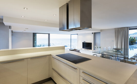 White modern, minimalist luxury home showcase kitchen - HOXF01353
