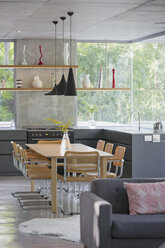 Modern home showcase interior kitchen and dining table - HOXF02031