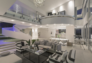 Illuminated modern luxury home showcase interior open plan - HOXF02112