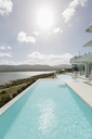Sunny tranquil home showcase exterior infinity pool with ocean view - HOXF02124