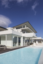 Sunny, tranquil modern luxury home showcase exterior with swimming pool under blue sky - HOXF02145