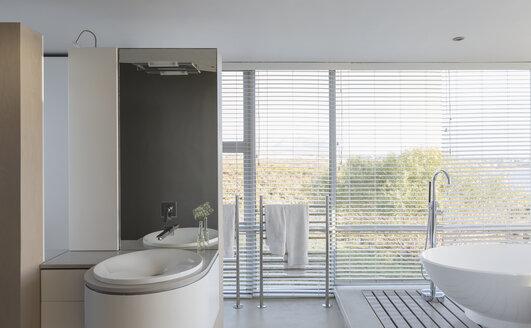 Modern luxury home showcase interior bathroom with soaking tub and sink - HOXF02166