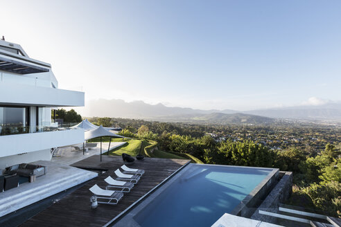 Modern luxury home showcase exterior with swimming pool and mountain view - HOXF02376