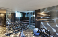 Gym with equipment in modern luxury home showcase interior - HOXF02385
