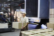 Worker carrying cardboard box at distribution warehouse loading dock - HOXF02841