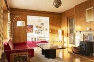 Sunny wood paneled living room - HOXF03195