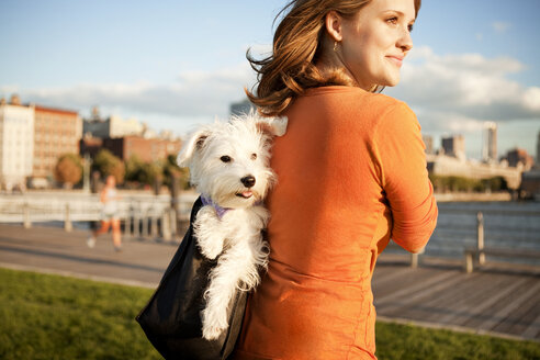 Smiling woman carrying dog in bag on sunny day - CAVF00189
