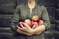 Midsection of woman holding apples while standing against wall - CAVF00630